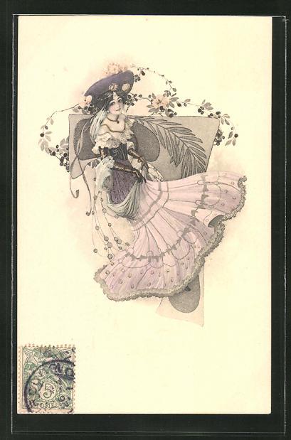 Künstler-AK Elegante junge Dame mit Hut, Jugendstil 0