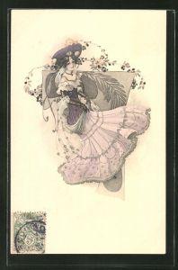 Künstler-AK Elegante junge Dame mit Hut, Jugendstil