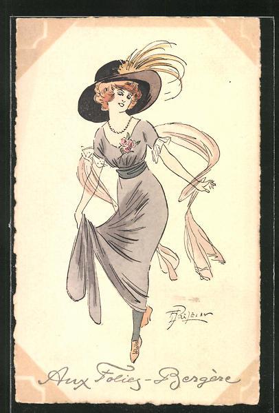 Künstler-AK sign. Prejelan: Elegante Dame mit grossem Hut