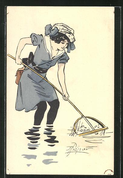 Künstler-AK sign. Prejelan: Junge Frau fischt nach Krabben