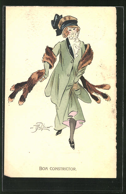 Künstler-AK sign. Prejelan: Elegante Dame mit Fuchspelz-Stola