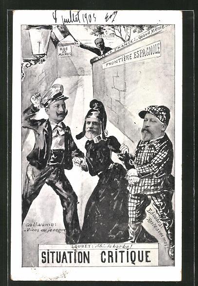 AK Marokkokrise, Kaiser Wilhelm II. mit Loubet und Edouard 0