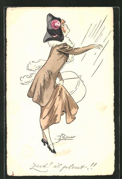 Künstler-AK sign. Prejelan: Modisch gekleidete Frau im Regen