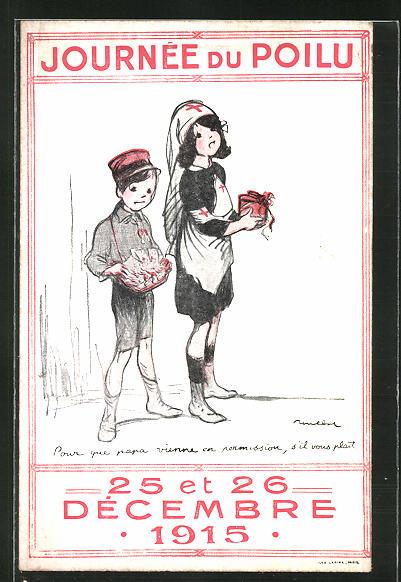 Künstler-AK Francisque Poulbot: Journée du Poilu 1915, Kinder verkaufen zu Gunsten der Polio-Hilfe