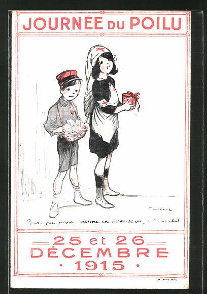 Künstler-AK Francisque Poulbot: Journée du Poilu Decembre 1915, Kinder verkaufen zu Gunsten der Polio-Hilfe 0