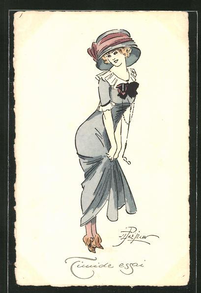 Künstler-AK sign. Prejelan: Timide essai, Junge modisch gekleidete Dame