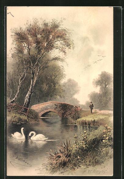 Künstler-AK Meissner & Buch (M&B): Landschaftspartie mit Brücke 0