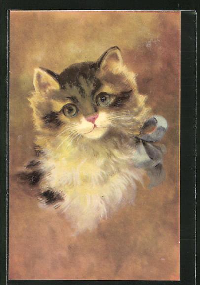 Präge-AK Katze mit blauer Schleife um den Hals 0