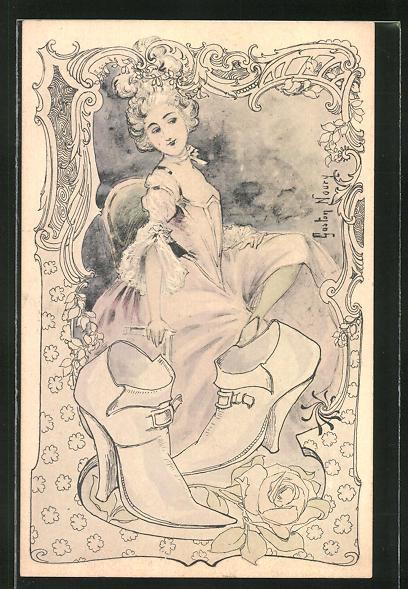 Künstler-AK sign. Gaston Noury: Schöne Dame mit neuen Schuhen, Jugendstil