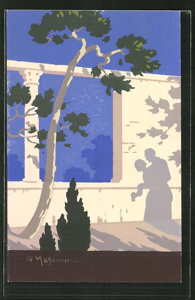 Künstler-AK sign. G. Meschini: Schatten eines Liebespaars auf einer Mauer, Art Deco