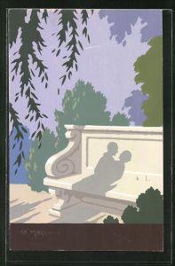 Künstler-AK sign. G. Meschini: Schattenwurf eines Liebespaares auf einer Parkbank, Art Deco