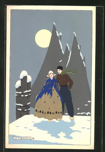 Künstler-AK sign. G. Meschini: Holländer-Paar in winterlicher Vollmondnacht an einer Mole, Art Deco