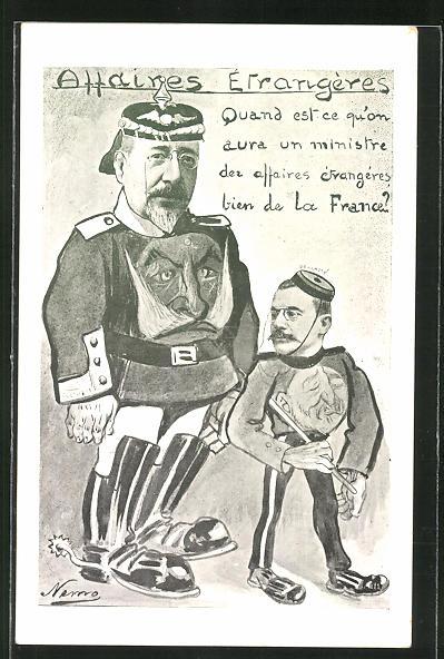 AK Marokkokrise, Französischer Politiker Maurice Rouvier mit Konterfei von Kaiser Wilhelm II. auf dem Brustpanzer 0