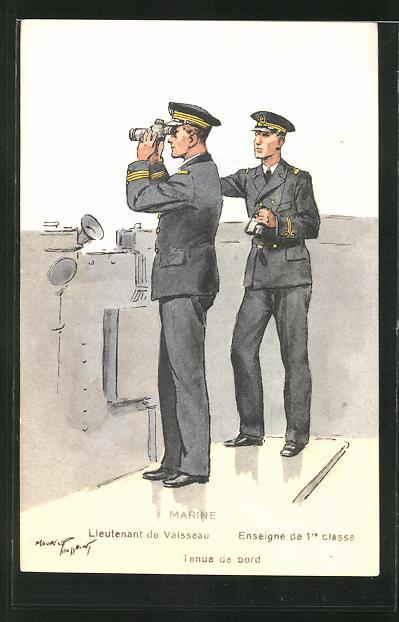 Künstler-AK Marine, Lieutenant de Vaisseau, Enseigne de 1re Classe