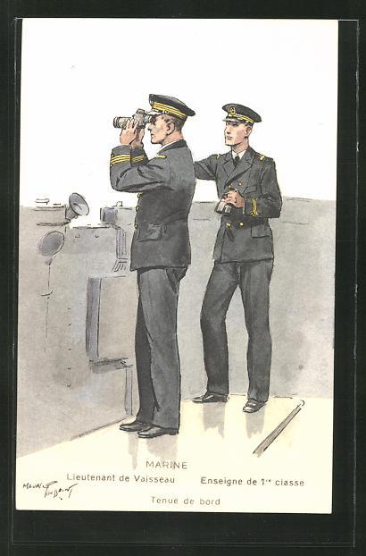Künstler-AK Marine, Lieutenant de Vaisseau, Enseigne de 1re Classe, Tenue de bord