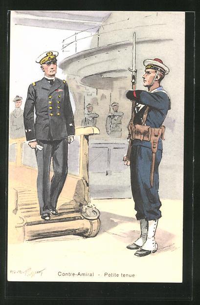 Künstler-AK Französisches Kriegsschiff, Contre-Amiral - Petite tenue