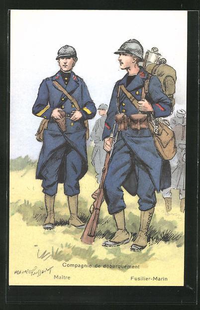 Künstler-AK Compagnie de débarquement, Maitre, Fusilier-Marin 0