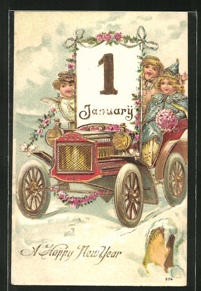 Präge-AK Engelchen mit Kalender im Auto 0