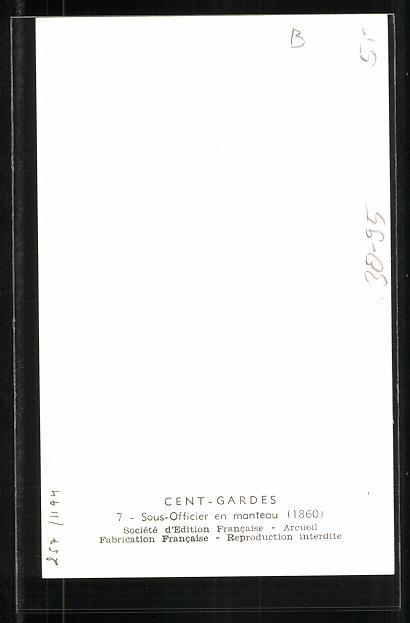 Künstler-AK Cent Gardes, Sous-Officier en manteau 1