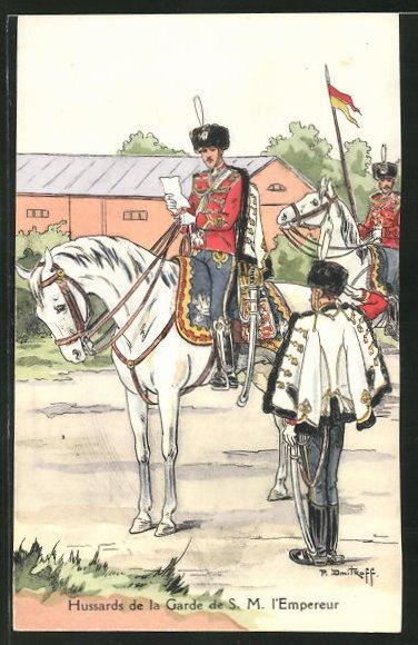 Künstler-AK Hussards de la Garde de S.M. l'Empereur 0