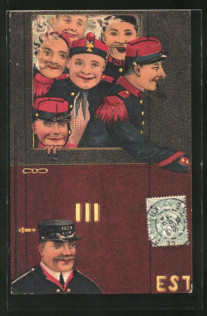 AK Französische Soldaten in Uniform im Zug 0