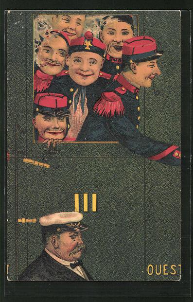 AK Französische Soldaten in Uniform schauen aus dem Zug