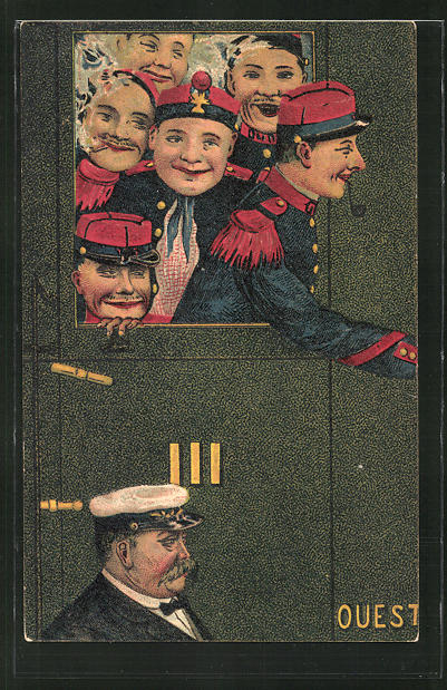 AK Französische Soldaten in Uniform schauen aus dem Zugfenster
