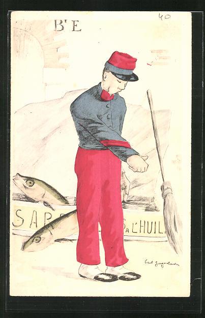 Künstler-AK Französischer Soldat vor einer riesigen Sardinendose 0