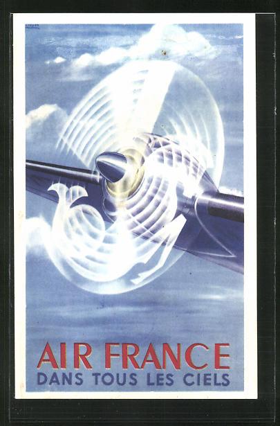 Künstler-AK Tourismus-Reklame der Air France, rotierender Flugzeugpropeller
