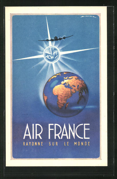 Künstler-AK Tourismus-Reklame der Air France, Rayonne sur le Monde