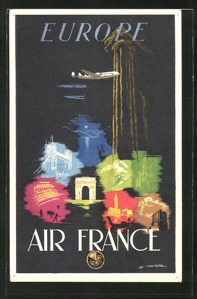 Künstler-AK Tourismus-Reklame der Air France, bunte Ansichten europäischer Städte