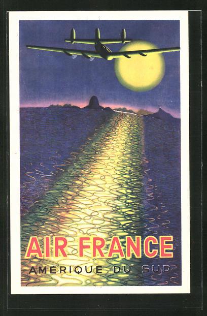 Künstler-AK Tourismus-Reklame der Air France, Amerique du Sud 0