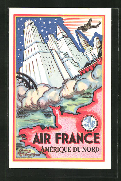 Künstler-AK Tourismus-Reklame der Air France, Amérique du Nord