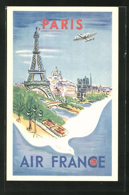 Künstler-AK Tourismus-Reklame der Air France für Paris