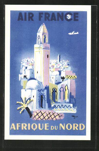 Künstler-AK Tourismus-Reklame der Air France für Nordafrika