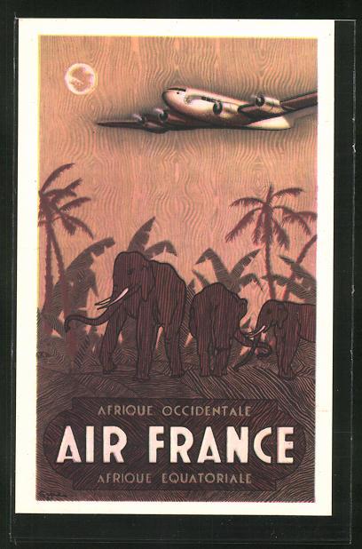 Künstler-AK Tourismus-Reklame der Air France, Afrique Occidentale, Afrique Equatoriale 0