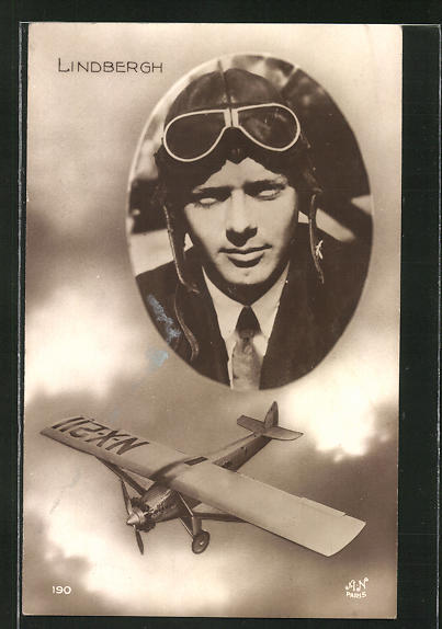 AK Flug-Pionier Lindbergh und sein Flugzeug