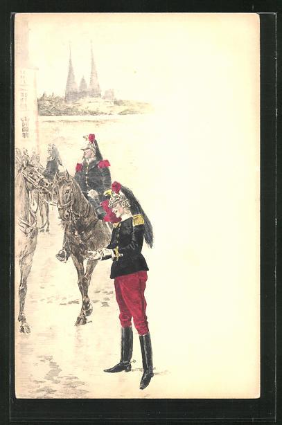 AK Französische Kavalleristen an einem Fluss 0