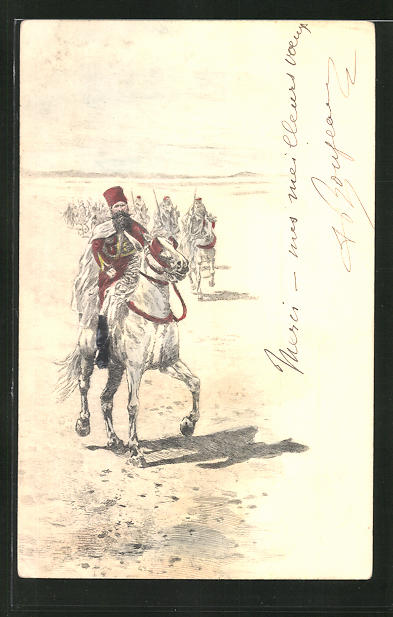 Künstler-AK Kavallerie-Einheit der französischen Hilfstruppen 0
