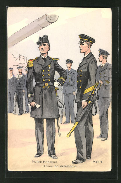 Künstler-AK Besatzung eines französischen Kriegsschiffes, Maitre-Principal, Maitre