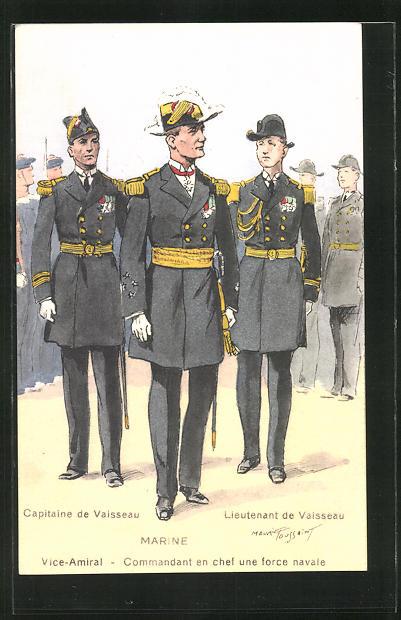Künstler-AK Besatzung eines französischen Kriegsschiffes, Capitaine de Vaisseau, Vice-Amiral