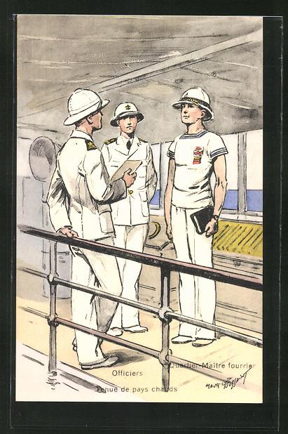 Künstler-AK Besatzung eines französischen Kriegsschiffes, Officiers, Tenue de pays chauds
