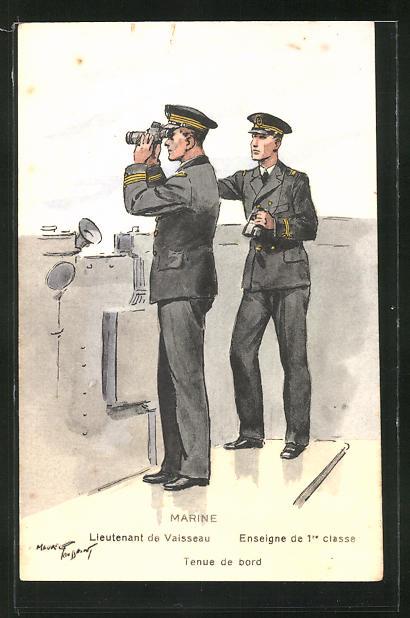 Künstler-AK Besatzung eines französischen Kriegsschiffes, Lieutenant Vaisseau, Tenue de bord