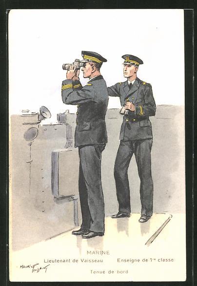 AK Besatzung eines französischen Kriegsschiffes, Lieutenant Vaisseau, Enseigne de 1er classe, Tenue de bord