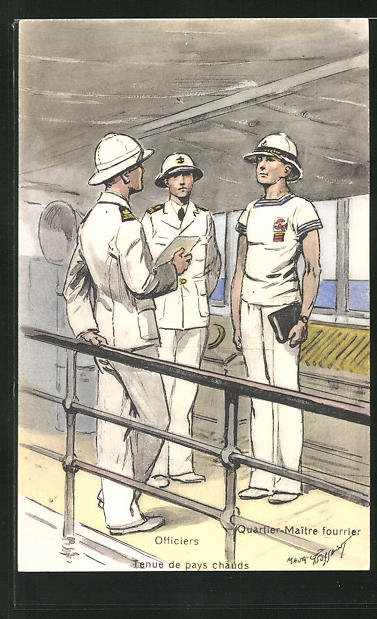 Künstler-AK Besatzung eines französischen Kriegsschiffes, Quatre Maitre fourrier, Tenue de pays chauds