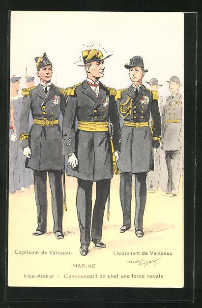 Künstler-AK Besatzung eines französischen Kriegsschiffes, Lieutenant Vaisseau, Capitaine de Vaisseau