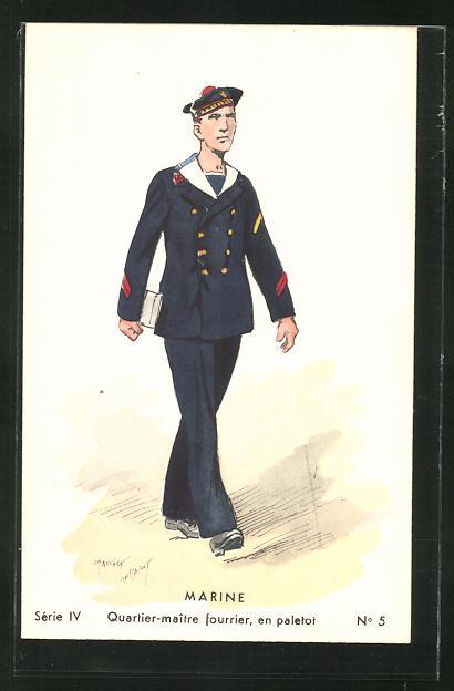 Künstler-AK Besatzung eines französischen Kriegsschiffes, Quartier-maitre fourrier en paletot