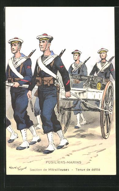 Künstler-AK Besatzung eines französischen Kriegsschiffes, Fusiliers-Marins