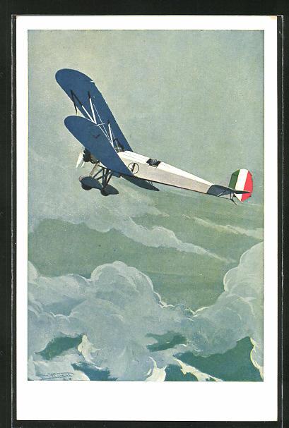 Künstler-AK sign. Ferrari: Italienisches Doppeldecker-Flugzeug in den Wolken