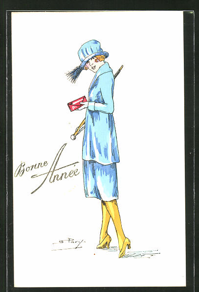 Künstler-AK sign. S. Pavy: Elegante Dame im blauen Kleid